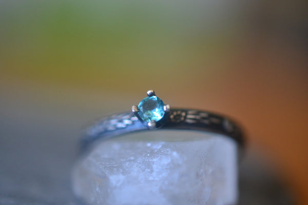 Natural 3mm Round Faceted Blue Apatite Promise Ring