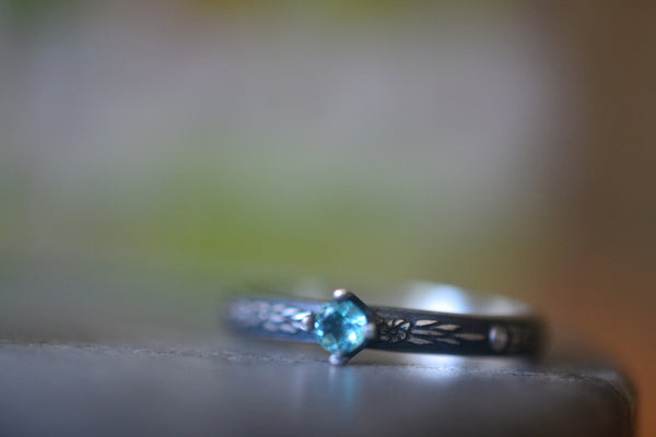 Faceted Apatite Gemstone Ring in Oxidised Sterling Silver