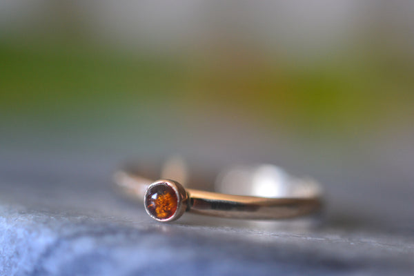Dainty 3mm Baltic Amber Cabochon Ring in 14ct Yellow Gold