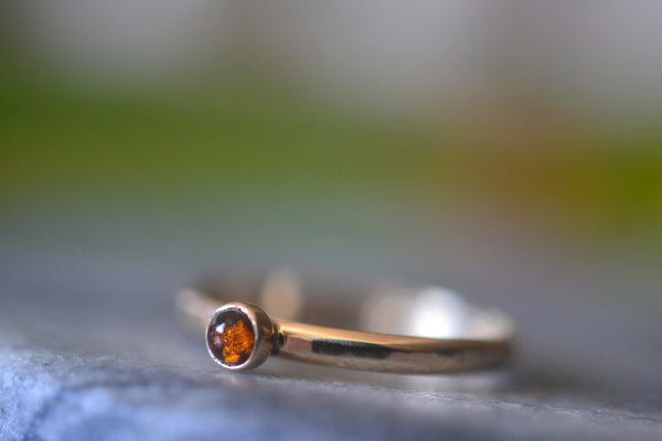 Women's Tiny Baltic Amber Engagement Ring in Yellow Gold 14K