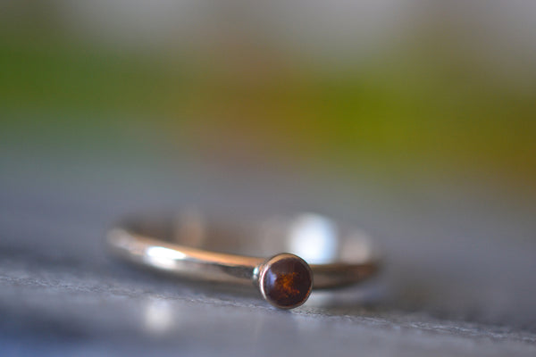 Engravable 14K Yellow Gold Promise Ring WIth Baltic Amber Stone