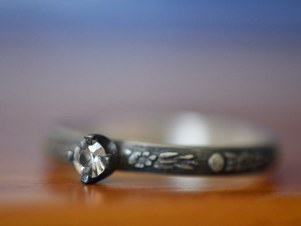 Handmade Oxidized Silver Dainty Floral White Sapphire Ring
