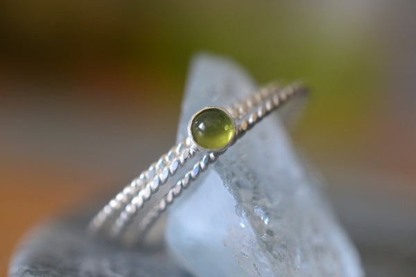 Natural Green Vesuvianite Crystal Stacking Set in Sterling Silver