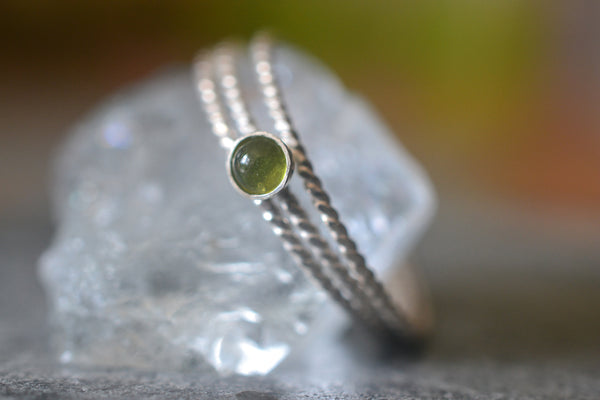 Twisted Sterling Silver Stacking Ring Set With Vesuvianite Stone