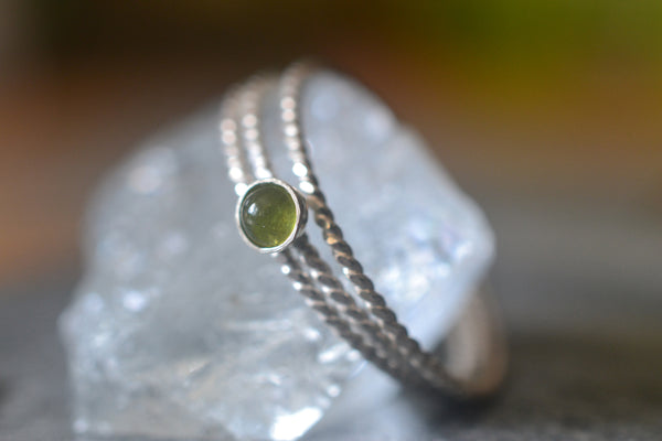 Natural Forest Green Vesuvianite Stone Stacking Ring Set in Silver