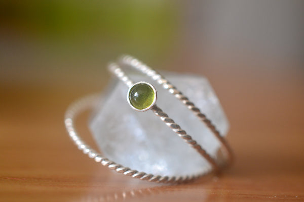 Dainty 3mm Green Vesuvianite Gemstone Stacking Band Set