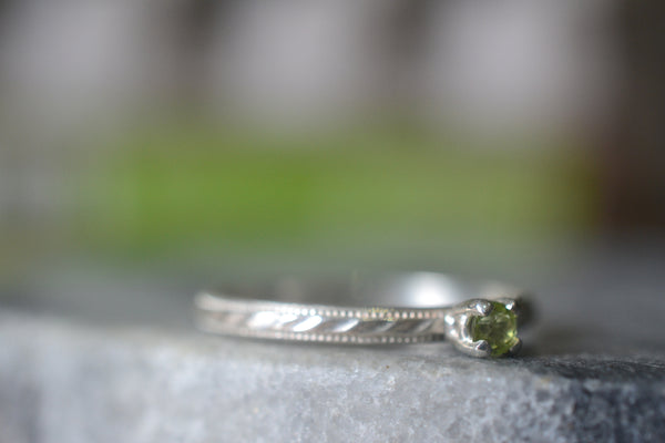 Simple Patterned Sterling Silver & Peridot Engagement Ring