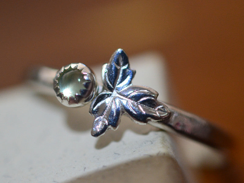 Tiny Prehnite Berry & Sterling Silver Leaf Ring
