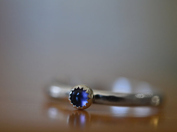 Simple Sterling Silver & Iolite Stack Ring