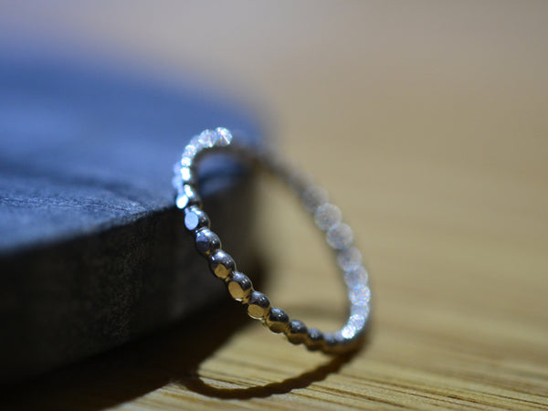 Women's Dainty Sterling Silver Beaded Stack Ring