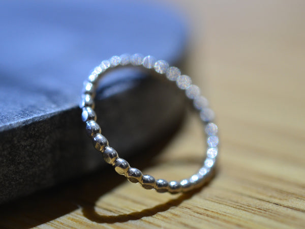 Women's Hammered Sterling Silver Beaded Stacking Ring