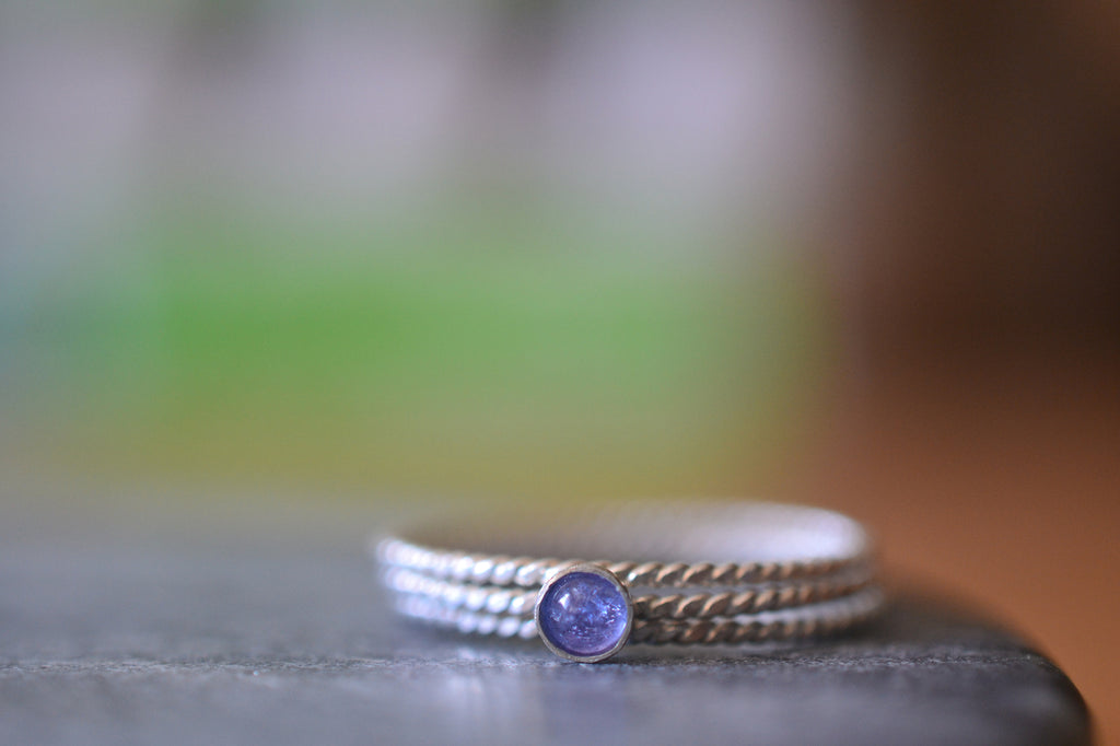 Delicate Sterling Silver & Tanzanite Stacking Ring Set