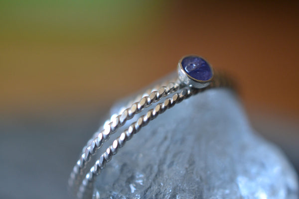 Dainty Little Tanzanite Stacking Ring Set in Sterling Silver