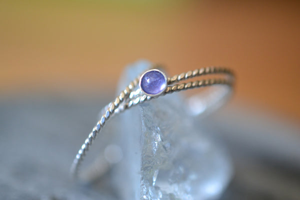 Simple Minimalist Stacking Ring Set With 3mm Crystal