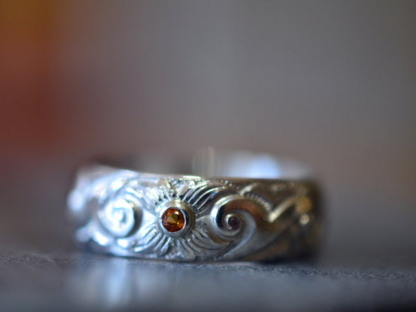 Silver Dogwood Scroll Wedding Band with Tiny Yellow Sapphire