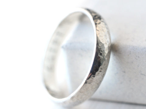 Hammered Silver Domed Wedding Band for Men or Women, Custom Engraving