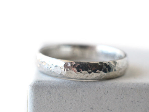 Handmade Domed Silver Hammered Wedding Band for Men