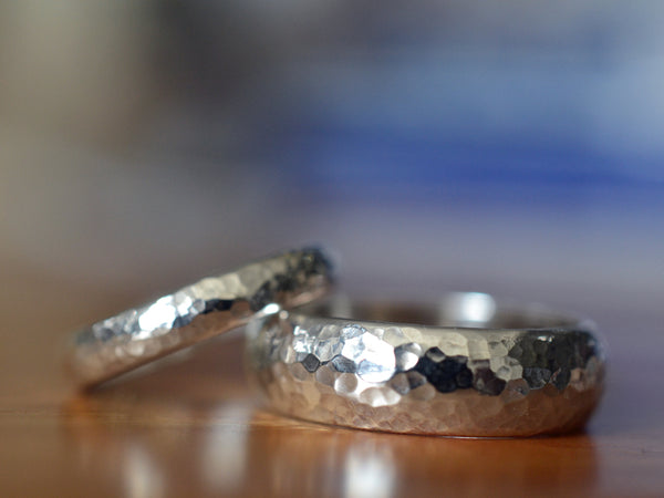 Domed Silver Wedding Band Set with Engraving