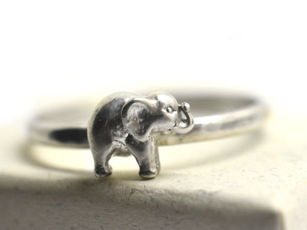 Sterling Silver Trumpeting Elephant Charm Ring