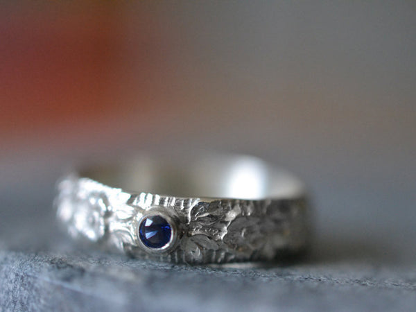 Handmade Rose Wedding Band in Sterling Silver With Sapphire