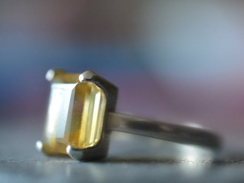 Emerald Cut Citrine Quartz Statement Ring in Sterling Silver