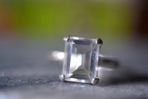 Ladies Octagon Cut Clear Quartz Crystal Ring in Sterling Silver