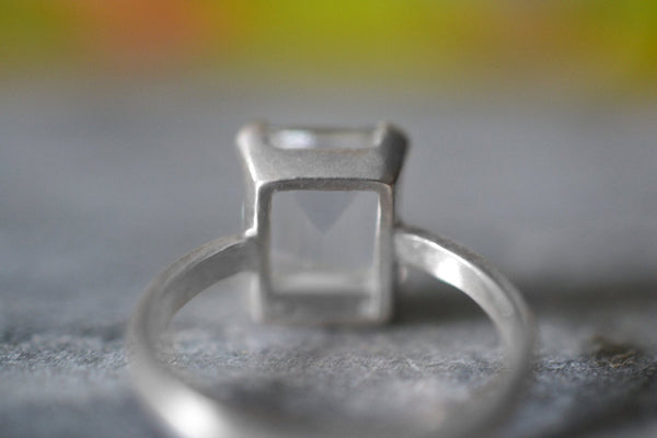Open Backed Natural Pure Rock Quartz Ring in Sterling Silver