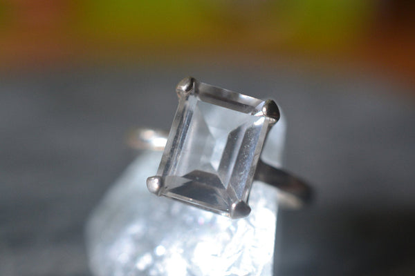 Minimalist Sterling Silver Statement Ring With Rock Crystal
