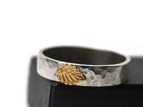 Handmade Mixed Metal Silver & Gold Leaf Ring