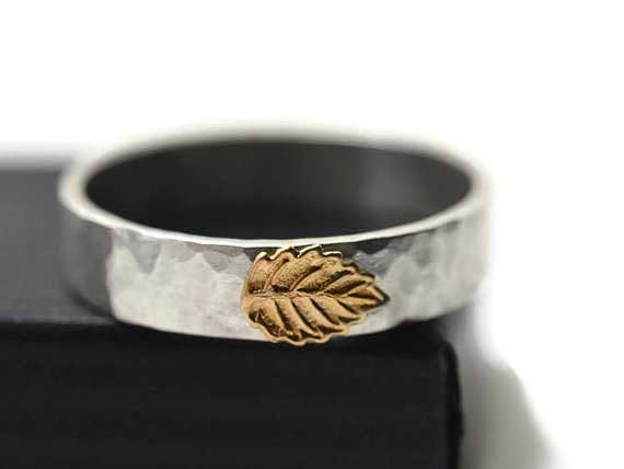 Handmade Sterling Silver & 14K Gold Leaf Wedding Band