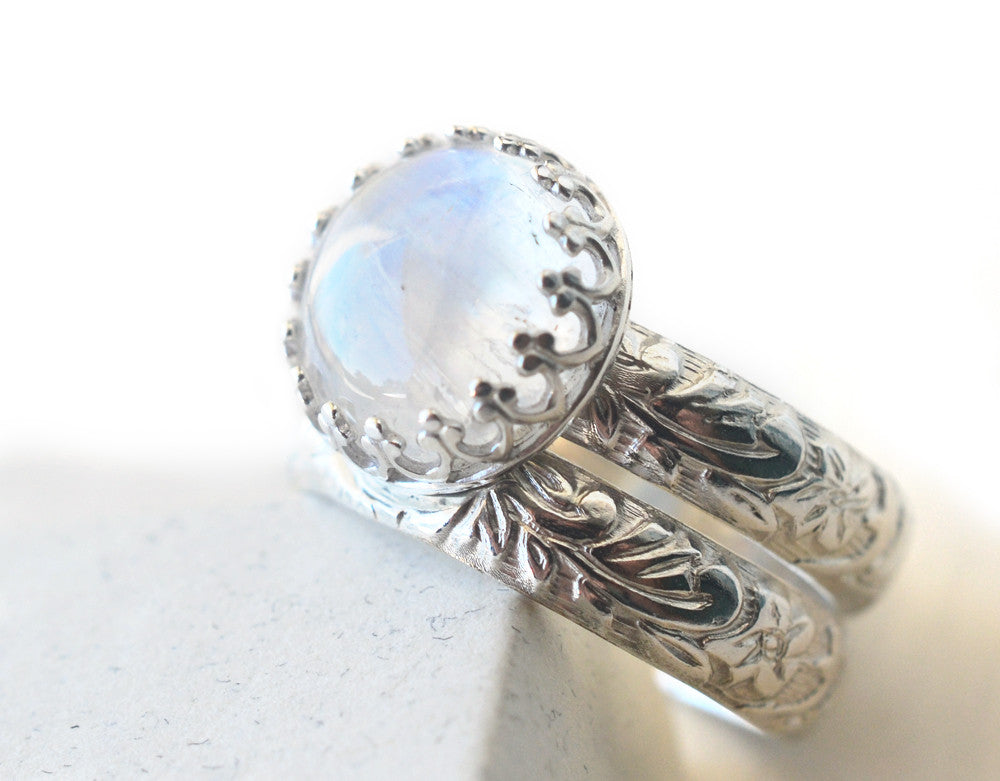 Handmade Blue Moonstone Engagement Ring Set in Floral Silver