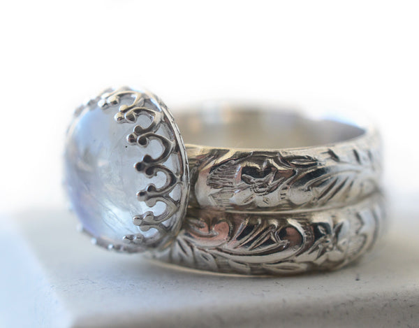 Customised Floral Silver Blue Moonstone Bridal Ring Set