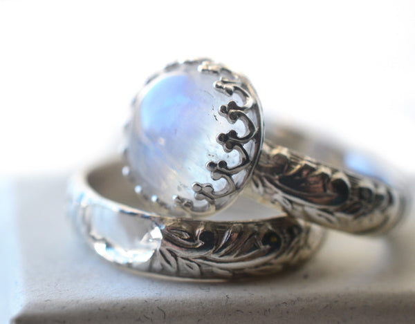Personalised Renaissance Style Blue Moonstone Wedding Ring Set