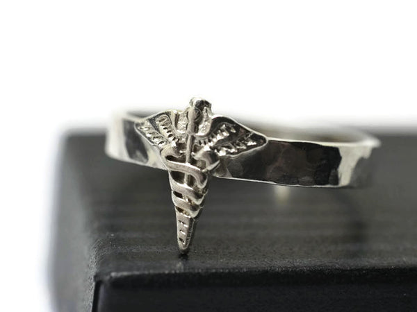 Handmade Sterling Silver Caduceus Ring with Personalized Engraving