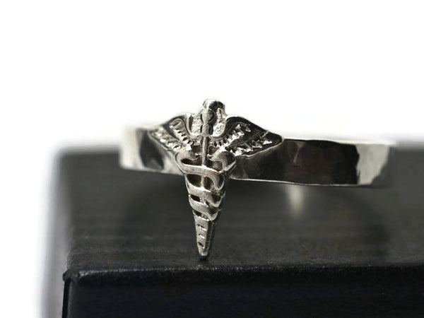 Customised Sterling Silver Medical Caduceus Symbol Ring