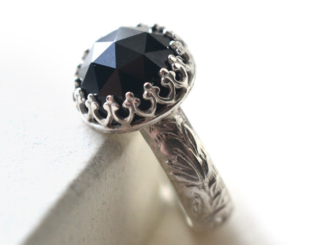 Handmade Floral Silver & 10mm Natural Black Spinel Ring