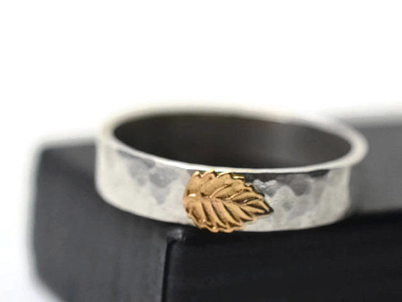Handforged Hammered Sterling Silver 14K Gold Leaf Band