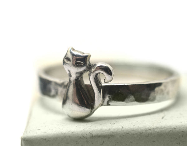 Handmade Engravable Sterling Silver Cat Charm Ring