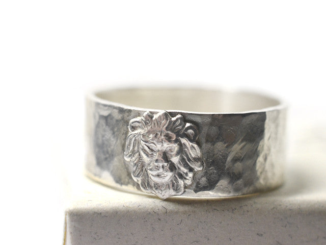 Wide Silver Lion Wedding Band with Custom Engraving