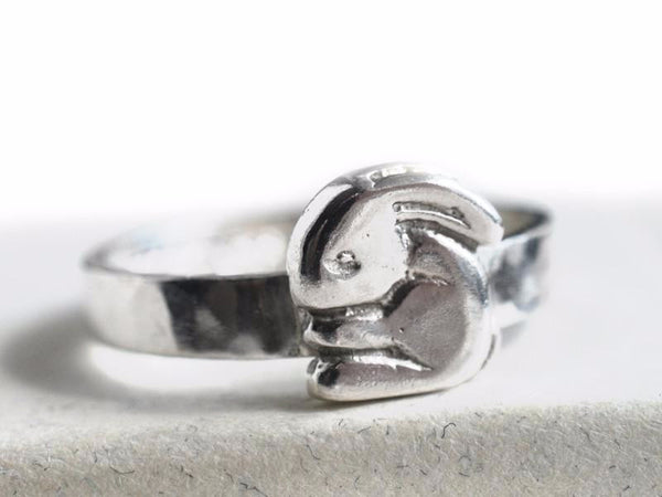 Engravable Sterling Silver Rabbit Charm Ring