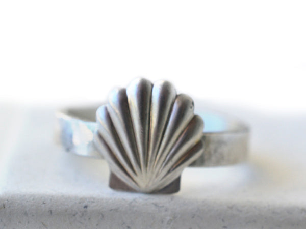Handmade Engravable Sterling Silver Seashell Ring