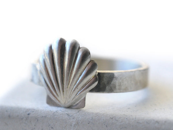Personalized Sterling Silver Seashell Charm Ring