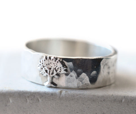 Sterling Silver Tree Charm Wedding Band