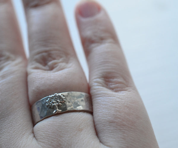 Woodland Inspired Silver Tree Wedding Ring