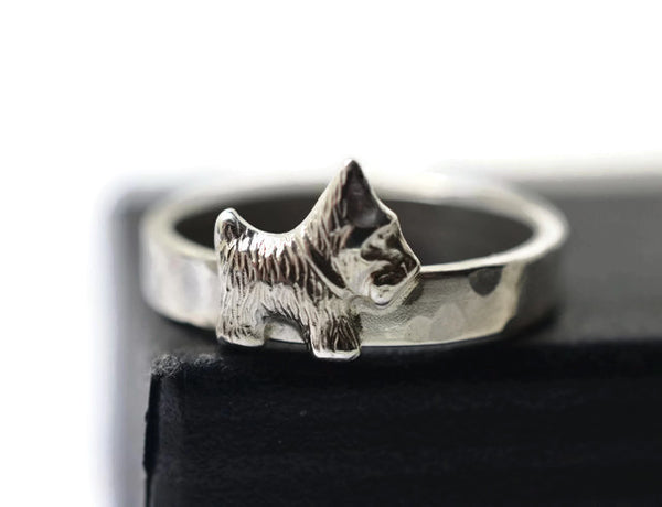 Handforged Sterling Silver Scottie Dog Ring