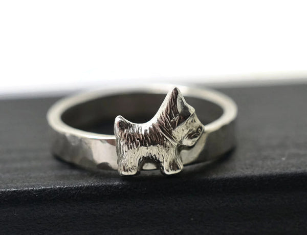 Engravable Sterling Silver Scottish Terrier Ring