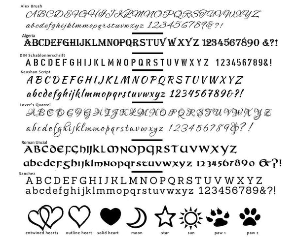 Engraving Options for Dog Tag Necklace