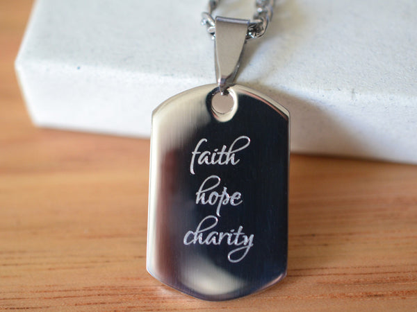 Inspirational Stainless Steel Dog Tag Pendant with Chain