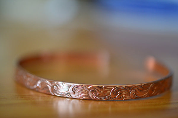 Handmade Plume Pattern Adjustable Pure Copper Cuff