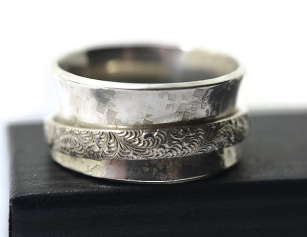 Handmade Sterling Silver Feather Scroll Spinner Ring